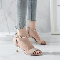 高跟鞋 女士细跟串珠鱼嘴鞋2019夏季新款韩版时尚女式洋气高跟鞋女鞋凉鞋