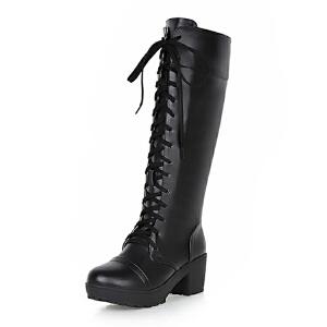 ELEISE美国艾蕾莎新品秋冬152-BM-2韩版超纤皮平底鞋女士女靴高筒靴