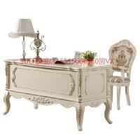 欧式书桌电脑桌椅书房家具套装组合白色写字台家用卧室实木办公桌 象牙白书台描银 否