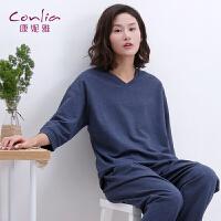 【便服】康妮雅家居服春季女士休闲可外穿V领七分袖长裤套装