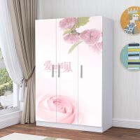 简易组装衣柜 烤漆 图案板式组合衣柜卡通大衣柜衣橱 3门 组装