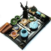 尚帝 杯架多彩冰裂套装 冰裂釉茶具套装 整套功夫陶瓷茶具 实木茶盘 T-BS7KBL