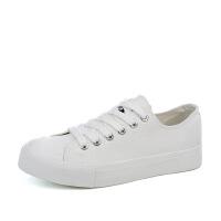 帆布鞋女 学生经典春季女鞋子 厚底松糕系带百搭小白鞋女板鞋