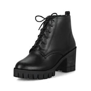 ELEISE美国艾蕾莎新品秋冬150-78-5韩版超纤皮高粗跟女士女靴短靴马丁靴