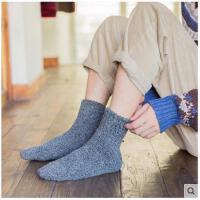 袜子男羊毛加厚保暖加绒秋冬季中筒袜羊绒长袜毛巾底男士棉袜韩版
