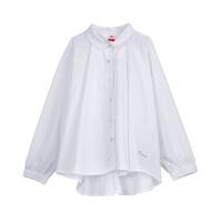 【限时抢】小猪班纳童装女童长袖纯白色衬衫2020春秋新款儿童翻领休闲衬衣棉