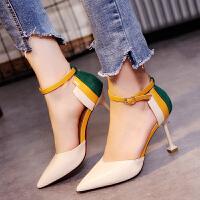 凉鞋女夏包头一字扣带高跟鞋尖头细跟休闲女鞋潮