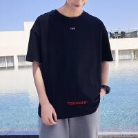 8夏季新款男士港风潮流字母印花体恤衫青少年百搭短袖T恤