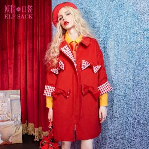 妖精的口袋辉煌奔跑冬装甜美格子蝴蝶结装饰大衣毛呢外套女长款