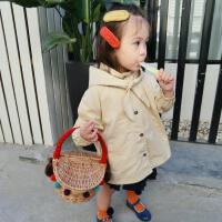 儿童宝宝时尚连帽领结系带单排扣风衣外套上衣小童装春秋