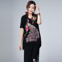 民族风女装夏刺绣大码衬衣棉麻绣孔雀上衣中长款中国风新.