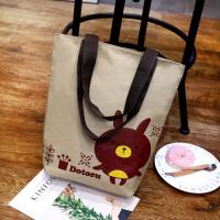 日韩文艺帆布包女单肩简约百搭森系学生环保袋韩国女包手提购物袋 卡其兔子