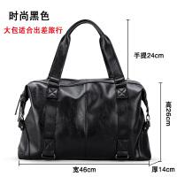 男包手提包休闲单肩斜跨包男士包包软包男手拎包时尚大容量旅行包 黑色(大容量)