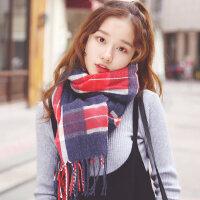 韩版学生百搭加厚保暖针织披肩两用仿羊绒英伦复古格子围巾女