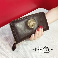 2018新款欧美女式钱包长款拉链女生钱包复古油蜡牛皮手包韩版 咖啡色