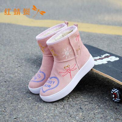 蜻蜓女鞋新款时尚防滑平底圆头保暖防寒中跟女靴
