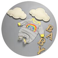 婴儿连体衣春秋季新生儿秋装3-6-9个月男女宝宝长袖卡通哈衣爬服
