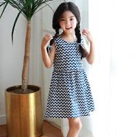 女童夏裙子2018新款韩版小清新中童大童条纹背心裙儿童无袖连衣裙