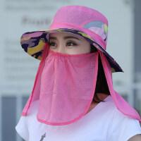 韩版遮阳帽大沿渔夫帽防紫外线遮脸盆帽帽子女骑车防晒太阳帽