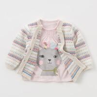 戴维贝拉秋冬针织衫 七色提花纯棉针织开衫毛衣DB5747