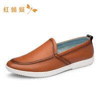 红蜻蜓男鞋真皮商务休闲春秋底懒人驾车乐福鞋子一脚蹬休闲皮鞋