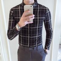春季英伦格子衬衫男长袖修身 韩版休闲新款衬衣青年时尚帅气寸衫