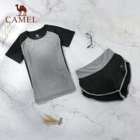 camel骆驼春夏运动两件套女休闲跑步健身瑜伽短袖短裤透气清爽套装