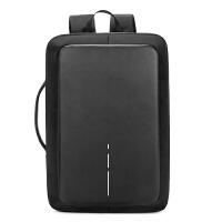 防盗背包双肩包男士15.6寸手提电脑包包商务休闲多功能充电背包 黑色