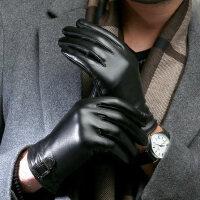 男士皮手套冬商务休闲加绒保暖骑行开车电动摩托车触屏手套厚
