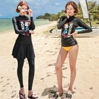 日韩系温泉新款水母服长袖保守可爱卡通图女士长裤分体泳衣潜水服 黑色米奇三件套 M