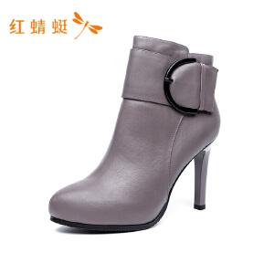 红蜻蜓女鞋新款真皮女靴尖头短靴细跟高跟鞋女