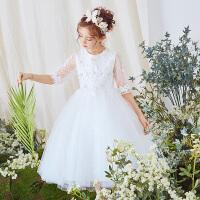 女童蓬蓬纱公主裙夏季白色婚纱花童礼服儿童蕾丝演出服