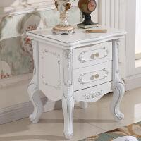 欧式床头柜简约现代收纳柜实木组装床头柜雕花储物柜白色烤漆边柜