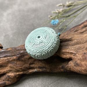X1145 近代《原矿绿松石回纹面包圈》(湖北原矿高瓷绿松石回纹面包圈,纯手工雕刻精品独一无二)
