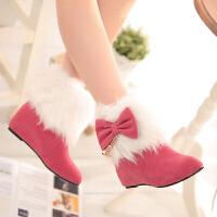 彼艾2016正品 秋冬甜美蝴蝶结平底雪地靴 时尚经典平跟女靴子