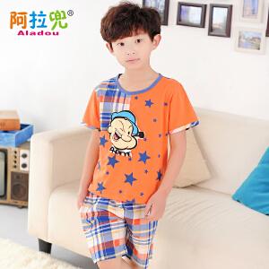 阿拉兜夏季纯棉儿童睡衣 小男孩短袖空调服 大中童卡通家居服两件套装 37621