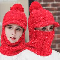 潮人防风围脖一体帽子女 韩版可爱加绒骑车帽子女 新款百搭保暖英伦针织帽