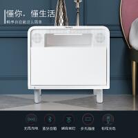现代简约智能床头柜可无线充电带音响夜灯插座多功能收纳柜储物柜 整装