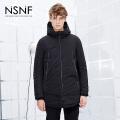 NSNF黑色连帽时尚简约中长款90%白鸭绒男士羽绒服2017秋冬新款