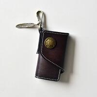 手工钥匙包男女通用植鞣牛皮零钱包皮小包