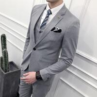 气质西服套装男士刺绣修身夜店结婚新郎伴郎礼服发型师西装三件套