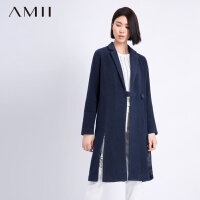 【到手价:80】Amii[极简主义]冬直筒大码呢大衣翻领中长款毛呢外套11581756