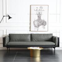 北欧沙发头层牛皮现代简约轻奢皮艺沙发三人位