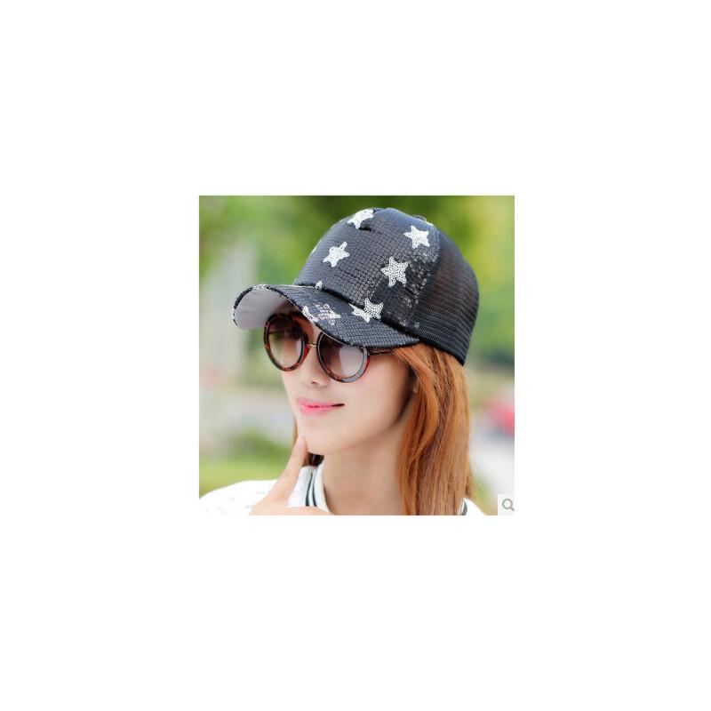 太阳帽女帽子女韩版潮时尚防晒鸭舌帽女士亮片棒球帽 品质保证 售后无忧