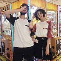 情侣装夏装印花字母短袖T恤圆领三杠韩版宽松2018新款上衣