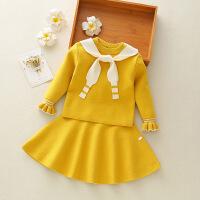 秋冬装女宝宝两件套裙子洋气2-3岁半女童毛衣套装红色