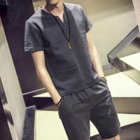 亚麻短裤男夏套装韩版潮流衣服男帅气短裤套装男宽松沙滩五分裤子
