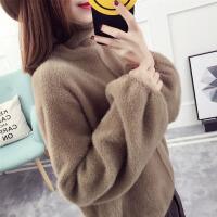 灯笼袖貂绒毛衣女套头韩版高领宽松秋冬装2017新款外套针织衫