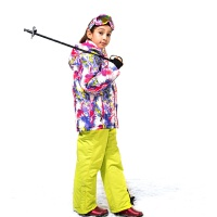 2018儿童滑雪服套装冬季加厚防风防风御寒冲锋衣裤单双板女童滑雪衣裤