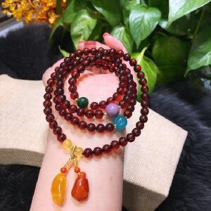 天然血珀圆珠4圈手链品质完美